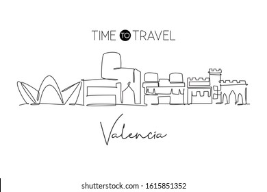 One continuous line drawing of Valencia city skyline Spain. Beautiful skyscraper postcard. World landscape tourism travel wall decor poster concept. Stylish single line draw design vector illustration
