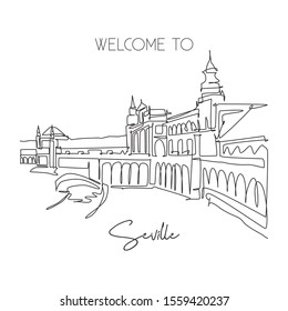 One continuous line drawing of welcome to Plaza de Espana landmark. World iconic place in Sevilla, Spain. Holiday vacation poster concept. Modern single line draw design vector illustration