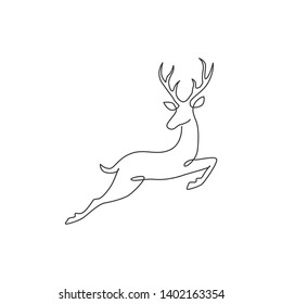 One continuous line drawing of wild reindeer for national park logo identity. Elegant buck mammal animal mascot concept for nature conservation. Single line draw design illustration