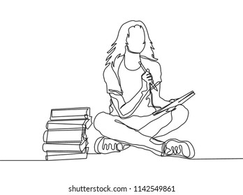One continuous line drawing of young woman college student learning and thinking beside book stack. Single line education concept vector illustration