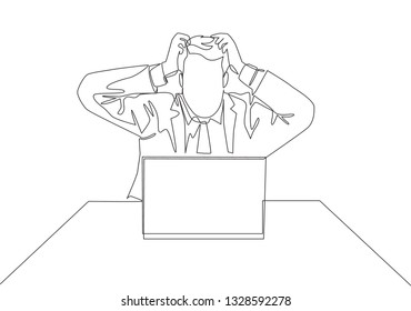 One continuous line drawing of young stressful worker holding his head while he was working. Work pressure concept single line draw design illustration