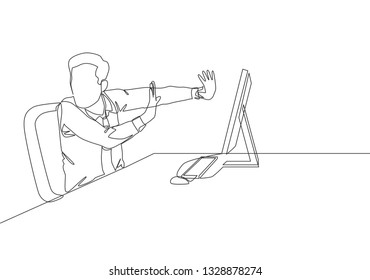 One continuous line drawing of young frightened businessman keep of himself from monitor computer because of traumatize. Work psychological concept single line draw design illustration