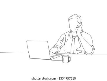 One continuous line drawing of young male manager typing on laptop and receiving a phone call. Office work concept single line draw design illustration