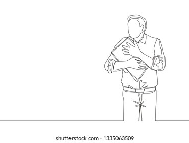 One continuous line drawing of young male worker tightly hugging the file he was carrying. Work pressure concept single line draw design illustration