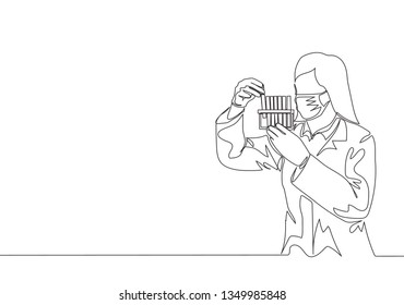 One continuous line drawing of young female laboratorian analyzing liquid change reaction at glass tube. Medical research concept single line draw design illustration