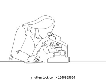 One continuous line drawing of young female laboratorian researching antibiotic formula using microscope to cure illness. Medical laboratory research concept single line draw design illustration