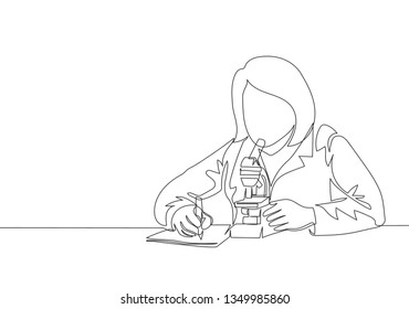 One continuous line drawing of young smart female laboratorian examine the virus that causes illness using laboratory microscope. Medical research concept single line draw design illustration