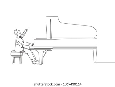One continuous line drawing of young happy male pianist playing classic grand piano on music concert theater festival. Musician artist performance concept single line draw design illustration