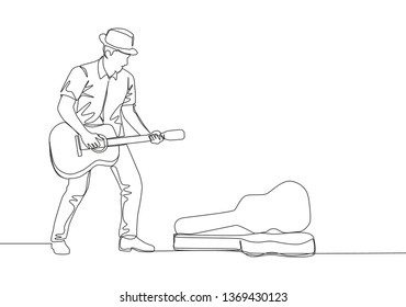 One continuous line drawing of young happy male guitarist standing and busking by playing guitar on the city road. Street musician artist performance concept single line draw design illustration