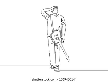 One continuous line drawing of young happy male rock guitarist walking while carrying electric guitar on his shoulder. Musician artist concept single line draw design illustration