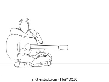 One continuous line drawing of young happy male guitarist posing after playing acoustic guitar. Musician artist performance concept single line draw design illustration