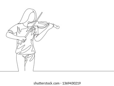 One continuous line drawing of young happy female violinist performing to play violin on music festival concert. Musician artist performance concept single line draw design illustration