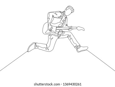 One continuous line drawing of young happy male guitarist jumping while playing electric guitar on music concert stage. Musician artist performance concept single line draw design illustration