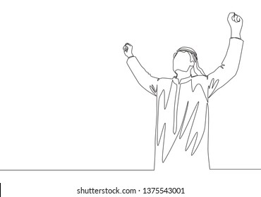 One continuous line drawing of young happy muslim business man raise hands to the air. Saudi Arabian businessmen with shemag, kandura, scarf, keffiyeh clothing. Single line draw design illustration