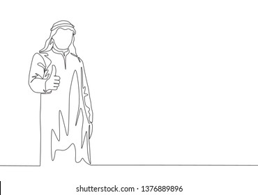 One continuous line drawing of young muslim company branch manager giving thumbs up gestures. Islamic clothing shemag, kandura, scarf, keffiyeh. Single line draw design illustration
