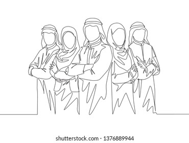One continuous line drawing of young muslim businesspeople line up neatly with crossing hands on chest. Islamic clothing shemag, kandura, scarf, keffiyeh. Single line draw design illustration