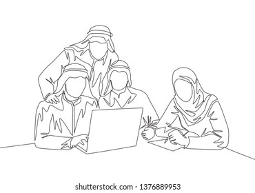 One continuous line drawing of young muslim startup team members discussing marketing strategy seriously. Islamic clothing shemag, kandura, scarf, keffiyeh. Single line draw design illustration