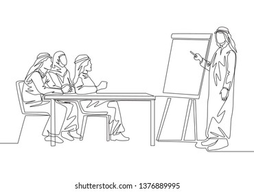 One continuous line drawing of young muslim business coach teaching how to start business without capital. Islamic clothing shemag, kandura, scarf, keffiyeh. Single line draw design illustration