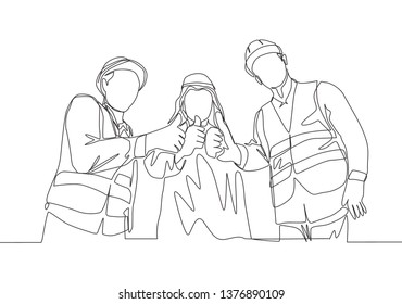 One continuous line drawing of young muslim businessman and building contractor giving thumbs up together. Islamic clothing shemag, kandura, scarf, keffiyeh. Single line draw design illustration