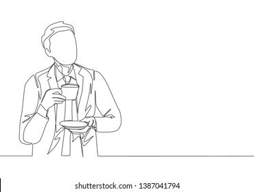 One continuous line drawing of young happy business man thinking business ideas while enjoying and holding a cup of coffee. Drinking coffee or tea concept graphic design illustration