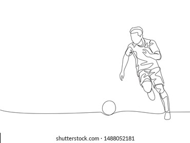 One continuous line drawing of young energetic football player dribbling the ball to the opponent area. Soccer match sports concept. Single line draw design vector illustration