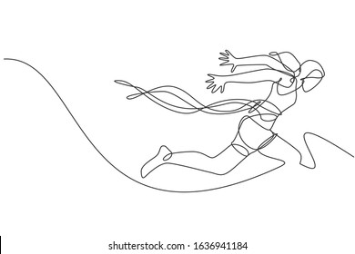 One continuous line drawing young sporty woman runner crosses finish line. Health activity sport concept. Dynamic single line draw design graphic vector illustration for running event promotion poster