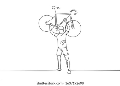 One continuous line drawing young sporty man bicycle racer lift up his light bicycle. Road cyclist concept. Dynamic single line draw design graphic vector illustration for cycling competition poster