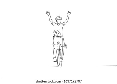 One continuous line drawing of young sporty man bicycle racer cross finish line and raise up his hands. Road cyclist concept. Single line draw design vector illustration for cycling competition poster