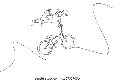 One continuous line drawing of young BMX bicycle rider does flying on the air trick at skatepark. Extreme sport concept vector illustration. Dynamic single line draw design for event promotion poster