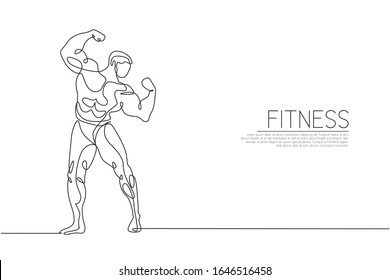 One continuous line drawing young strong model man bodybuilder posed. Fitness center gym logo concept. Dynamic single line draw design graphic vector illustration for bodybuilding competition contest