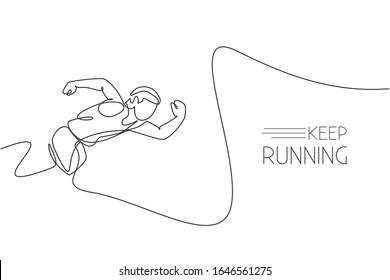 One continuous line drawing of young sporty man runner focus to sprint run fast. Health activity sport concept. Dynamic single line draw design vector illustration for running event promotion poster
