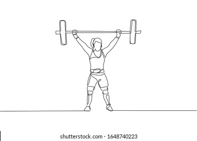 One continuous line drawing young bodybuilder woman doing exercise with a heavy weight bar in gym. Powerlifter train weightlifting concept. Dynamic single line draw design vector graphic illustration