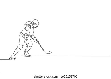 One continuous line drawing of young professional ice hockey player exercising and practicing on ice rink stadium. Healthy extreme sport concept. Dynamic single line draw design vector illustration