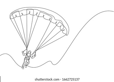 One continuous line drawing of young bravery man flying in the sky using paragliding parachute. Outdoor dangerous extreme sport concept. Dynamic single line draw design vector graphic illustration