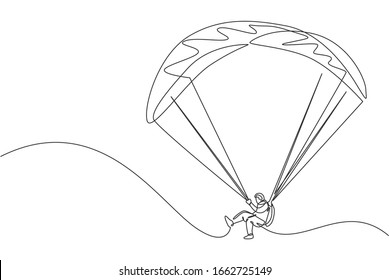 One continuous line drawing of young bravery man flying in the sky using paragliding parachute. Outdoor dangerous extreme sport concept. Dynamic single line draw graphic design vector illustration