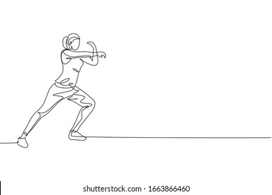 One continuous line drawing of young sporty woman work stretching out and warming up in fitness gym club center. Healthy fitness sport concept. Dynamic single line draw design vector illustration