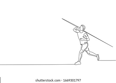 One continuous line drawing of young sporty man exercise to concentrate before throw javelin on the field. Athletic games. Olympic sport concept. Dynamic single line draw design vector illustration
