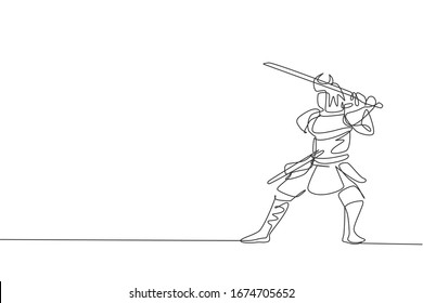 One continuous line drawing of young bravery samurai shogun wearing mask ready to attack at training session. Martial art combative sport concept. Dynamic single line draw design vector illustration