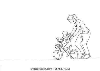 One continuous line drawing of young mother help her daughter learning to ride a bicycle at countryside together. Parenthood lesson concept. Dynamic single line draw graphic design vector illustration
