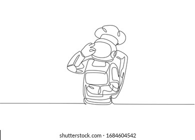 One continuous line drawing of young astronaut chef giving delicious hand gesture for tasty dish. Healthy cuisine food menu on restaurant concept. Dynamic single line draw design vector illustration
