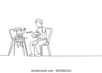 One continuous line drawing of young father feeding his daughter a meal who sit at baby dining chair. Happy family parenthood concept. Dynamic single line draw design vector illustration