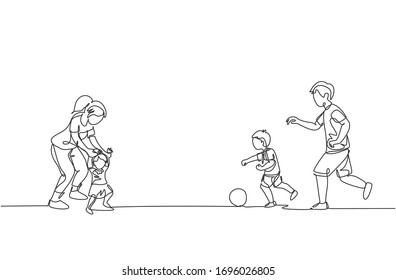 One continuous line drawing of young father playing soccer with son while mother teaching daughter to walk at field. Happy family parenting concept. Dynamic single line draw design vector illustration
