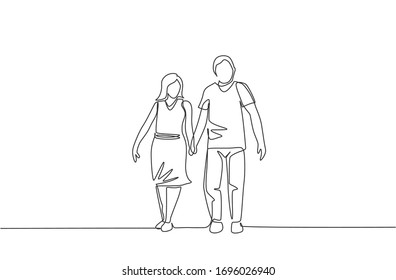 One continuous line drawing of young couple wife and husband walking and holding hand together at park. Happy family parenting concept. Dynamic single line draw design vector illustration