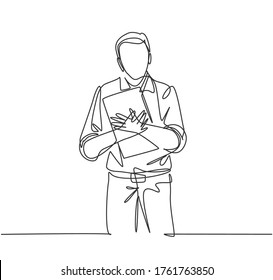 One continuous line drawing of young happy male businessman at the office tightly hugging the file he was carrying. Work service excellence concept single line draw design graphic vector illustration