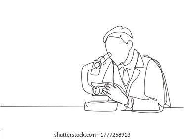 One continuous line drawing of young male scientist analyze corona virus cause covid-19 disease using laboratory microscope. Coronavirus medical research concept single line draw design illustration