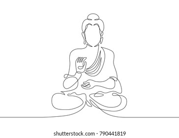 One continuous line drawn Buddha statue Buddhist character.