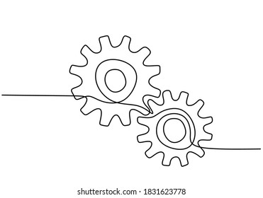 One continuous line of moving gears wheels. Three cogwheels connected. Symbol of teamwork, development. Round wheel metal symbol company logotype template for business teamwork concept