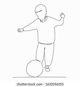 One continuous single drawing line art doodle boy, ball, soccer, sport, football. Isolated image hand draw contour on a white background