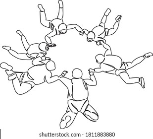 One continuous single drawing line art doodle diving, sky, fun, extreme, sport, parachuting. Isolated flat hand draw contour on a white background