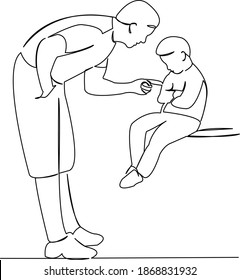 One continuous single drawing line art flat doodle child, parent, father, family, son, anger, relationship, punishment, argument, discipline. Isolated image hand draw contour on a white background
